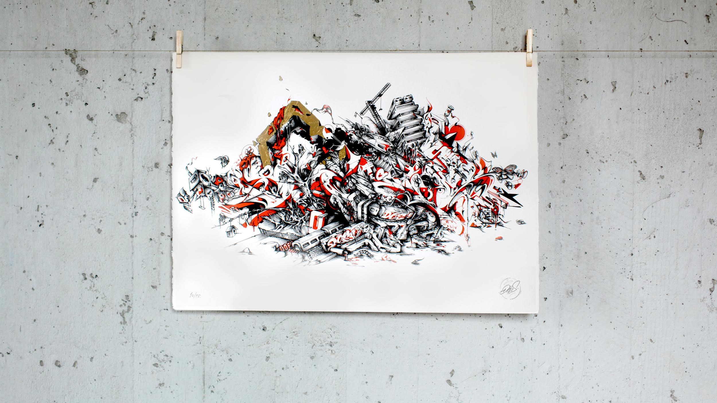 A work by Does - We built this city print