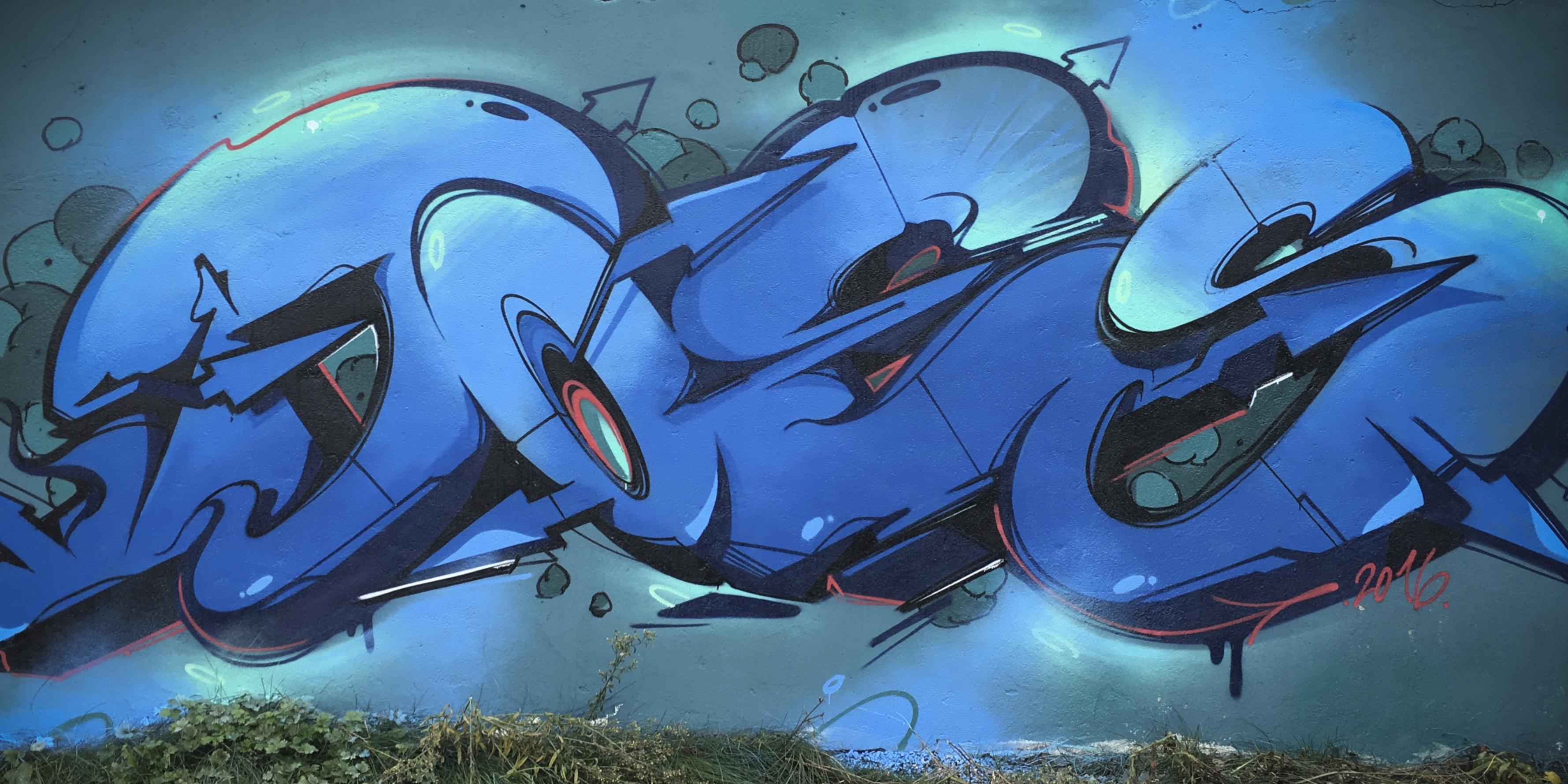 A work by Does - Blue monday mural heerlen the netherlands 1