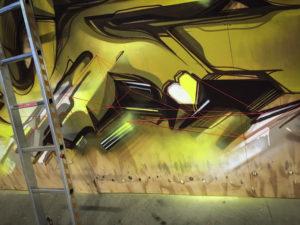 Detail progress mural wood 15 sittard the netherlands yellow