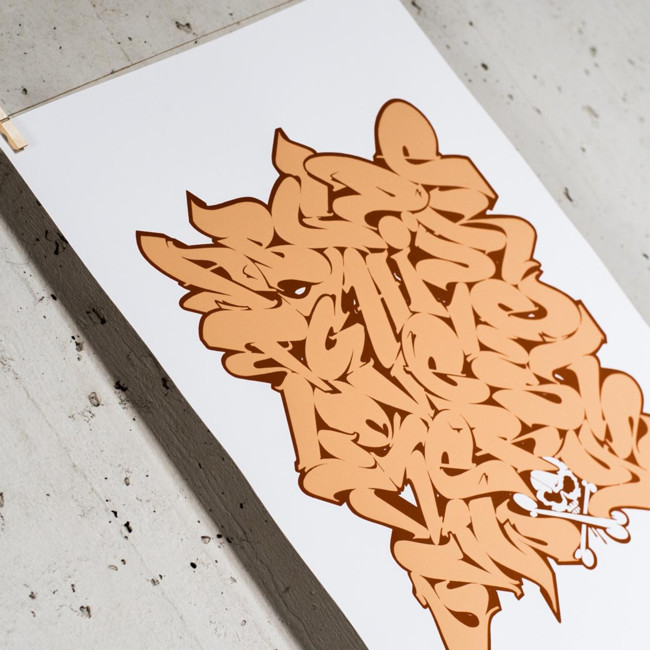 A work by Does - Print alphabet orange