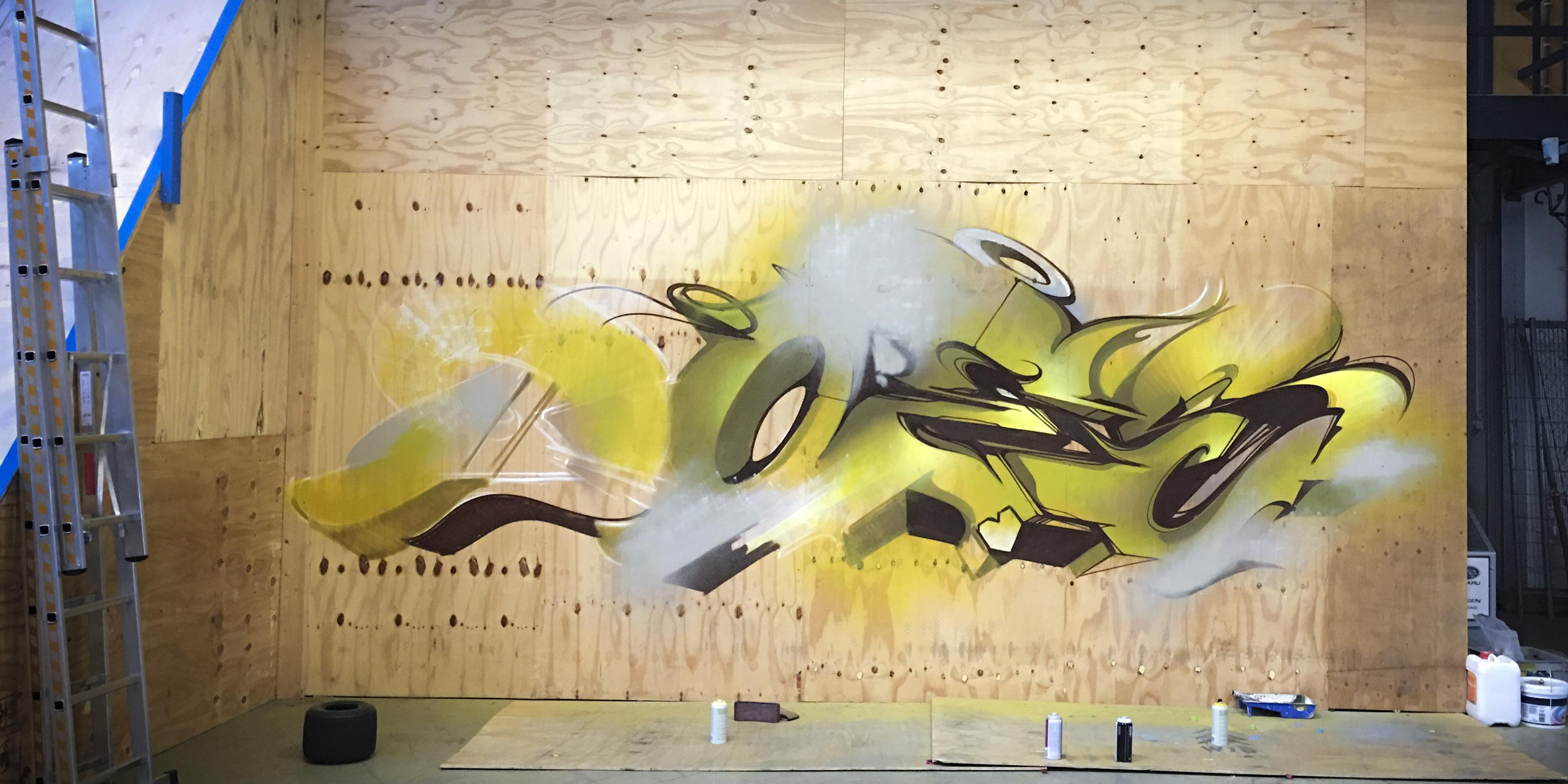 A work by Does - Progress mural wood 15 sittard the netherlands yellow 1