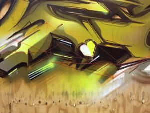 Detail mural wood 15 sittard the netherlands yellow 2