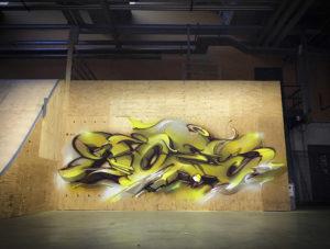 Final mural wood 15 sittard the netherlands yellow