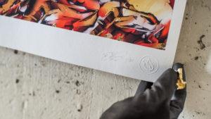 Detail print qui facit creat 6
