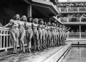 The PARIS CASINO Girls posing in group for the election of the prettiest swimmer at the Molitor swimming pool on July 5, 1946
